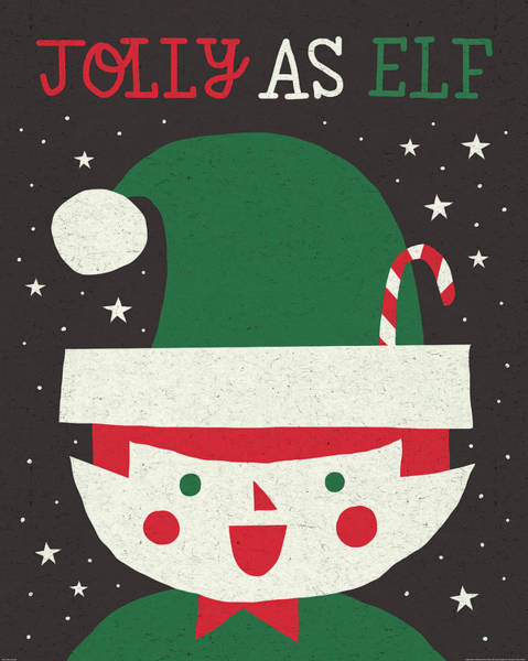 White Christmas Painting - Jolly Holiday Elf by Michael Mullan