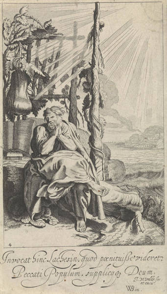 Destiny Drawing - Jonas Under The Miracle Plant, Jan Van De Velde II by Jan Van De Velde (ii)