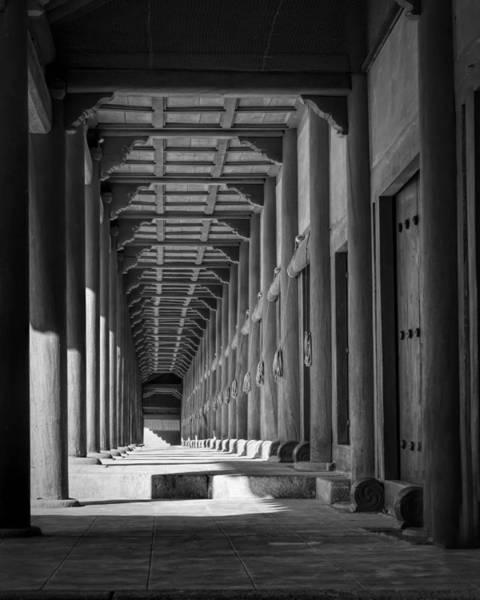 Photograph - Jongmyo Light And Shadow Bw by Joan Carroll