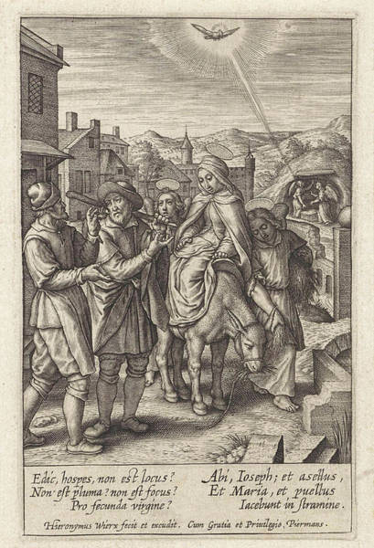Bethlehem Drawing - Joseph And Mary Are Refused At The Inn, Print Maker by Hieronymus Wierix