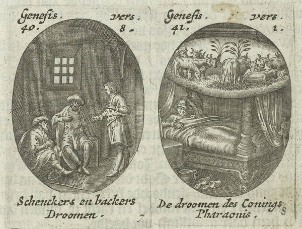 Interpret Drawing - Joseph Explains Dreams Of Cupbearer And Baker by Hans Janssen