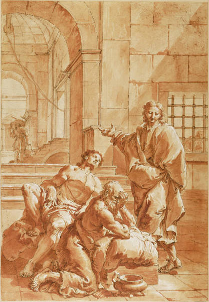 Interpret Drawing - Joseph Interpreting The Dreams Of His Fellow Prisoners by Litz Collection