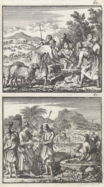 Wall Art - Drawing - Joseph Is Thrown In The Pit By His Brothers by Jan Luyken And Barent Visscher And Andries Van Damme