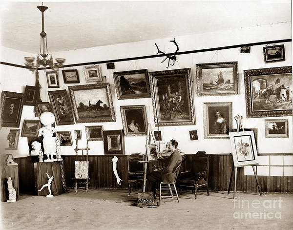 Photograph - Joseph Kurtz Oliver Artist In His Studio Monterey Circa 1905 by California Views Archives Mr Pat Hathaway Archives