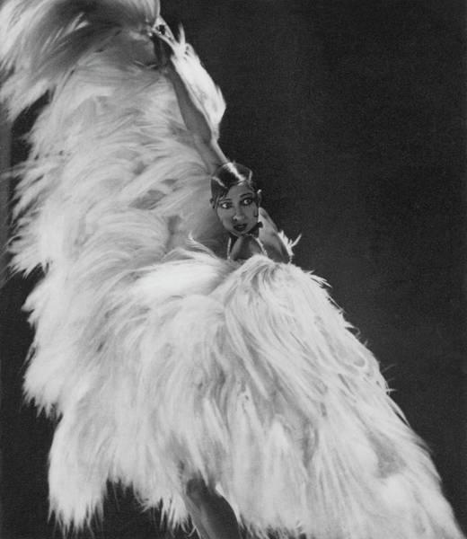 Singer Photograph - Josephine Baker Wearing A Feather Costume by George Hoyningen-Huene