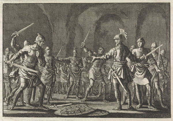 Wall Art - Drawing - Josephus After Conquering Jotapata With 40 Companions by Jan Luyken And Pieter Mortier