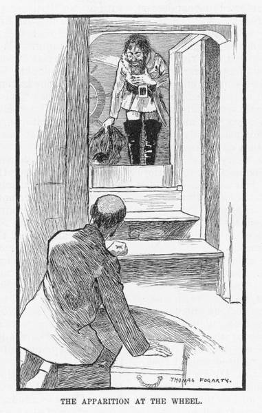 Pinta Drawing - Joshua Slocum Is Visited By  The Ghost by Mary Evans Picture Library