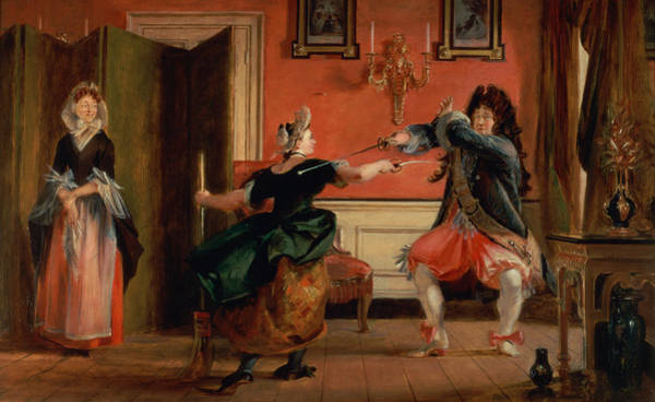 Dueling Wall Art - Photograph - Jourdain Fences His Maid, Nicole With His Wife Looking On. Scene From Le Bourgeois Gentilhomme, Act by Charles Robert Leslie
