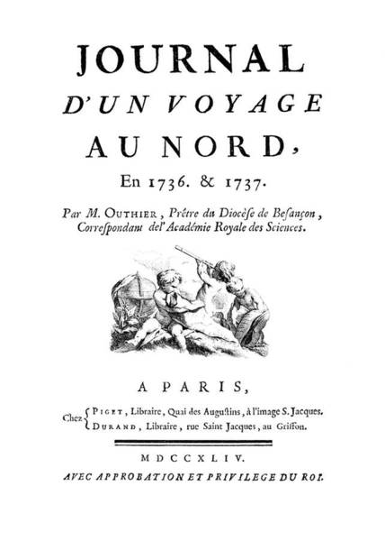 Front Page Photograph - Journal D'un Voyage Du Nord by Royal Astronomical Society/science Photo Library