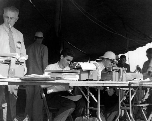 Photograph - Journalists Working by Underwood Archives