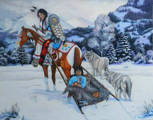 Native American Blanket Painting - Journey Home by Amanda Hukill