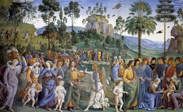 Apostolic Palace Wall Art - Painting - Journey Of Moses In Egypt by Pietro Perugino