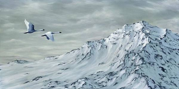Trumpeter Swan Painting - Journey by Rick Bainbridge