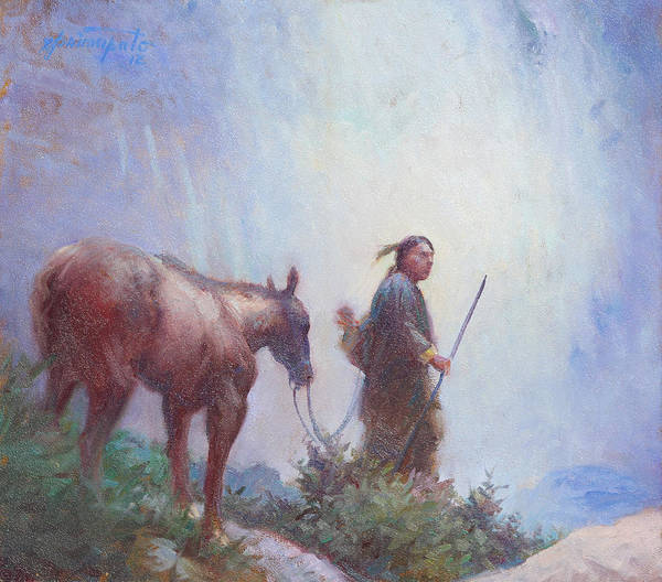 Native American Culture Painting - Journey To The Sacred Falls by Ernest Principato