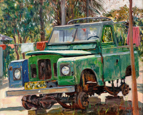 Jeep Wall Art - Photograph - Journeys End, 2006 Oil On Canvas by Tilly Willis