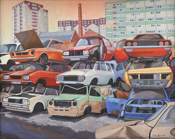 Car Wreck Wall Art - Painting - Journey's End  by Anna Teasdale