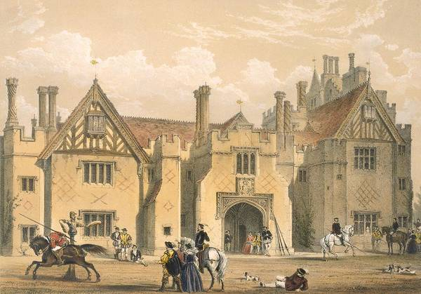 Wall Art - Drawing - Joust Practice, Compton Wynyates by Joseph Nash
