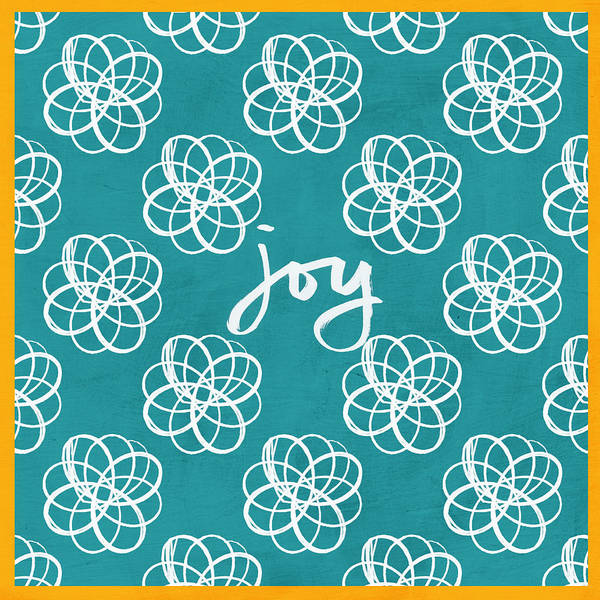 Teal Mixed Media - Joy Boho Floral Print by Linda Woods