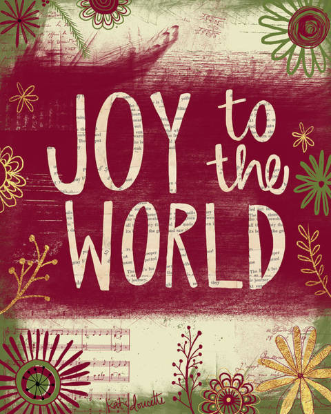 Winter Holiday Painting - Joy To The World by Katie Doucette
