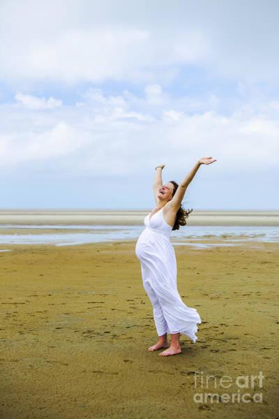 Pregnant Photograph - Joyful Pregnant Woman by Diane Diederich