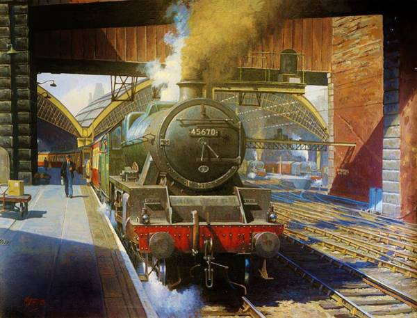 Vintage Train Painting - Jubilee 4.6.0 At Liverpool Lime Street. by Mike Jeffries