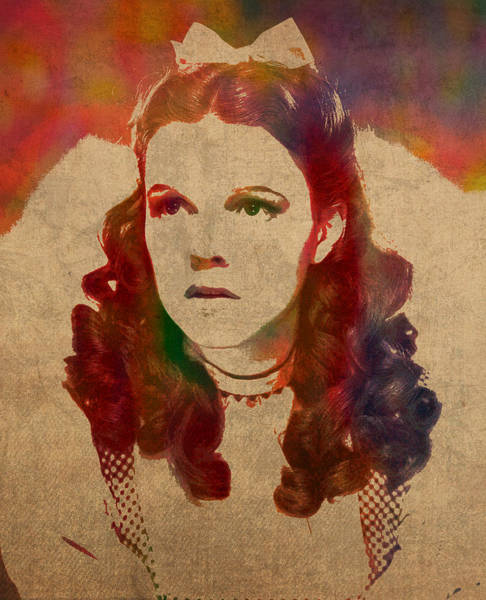 Garland Wall Art - Mixed Media - Judy Garland As Dorothy Gale In Wizard Of Oz Watercolor Portrait On Worn Distressed Canvas by Design Turnpike