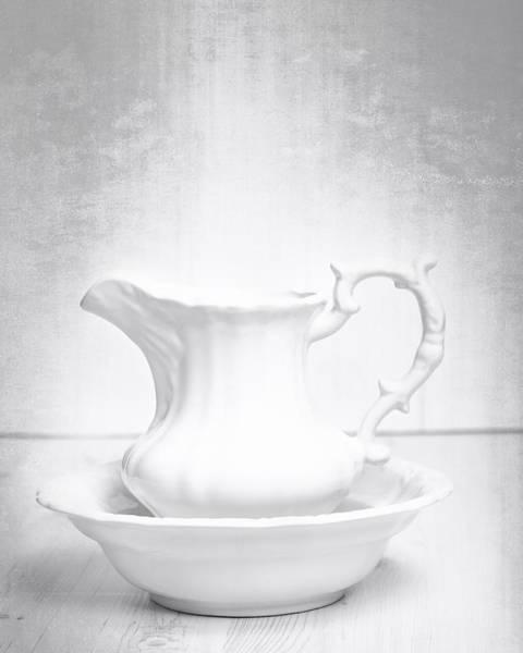 White Background Photograph - Jug And Bowl by Amanda Elwell