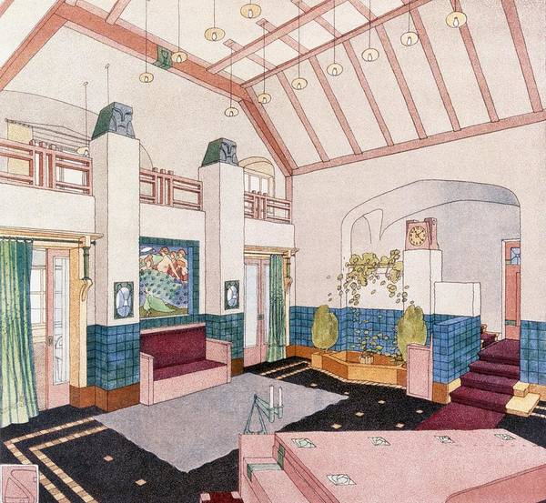 Tile Drawing - Jugendstil Or Early Modernist Style by German School