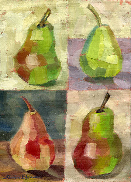 Painting - Juicy Pears Four Square by Shalece Elynne