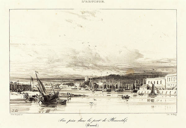 Wall Art - Drawing - Jules Dupré French, 1811 - 1889, View In Plymouth Port Vue by Quint Lox