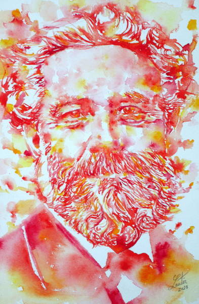 Jules Verne Wall Art - Painting - Jules Verne Watercolor Portrait by Fabrizio Cassetta