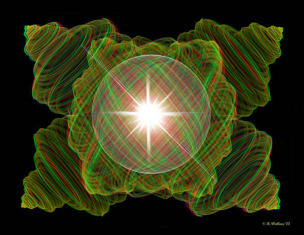 Stereoscopy Digital Art - Julia Fractal And Sphere - Use Red-cyan Filtered 3d Glasses by Brian Wallace