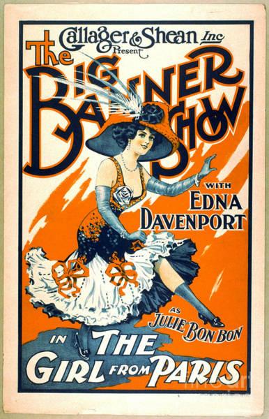 Revue Photograph - Julie Bon Bon The Girl From Paris 1910 by Padre Art