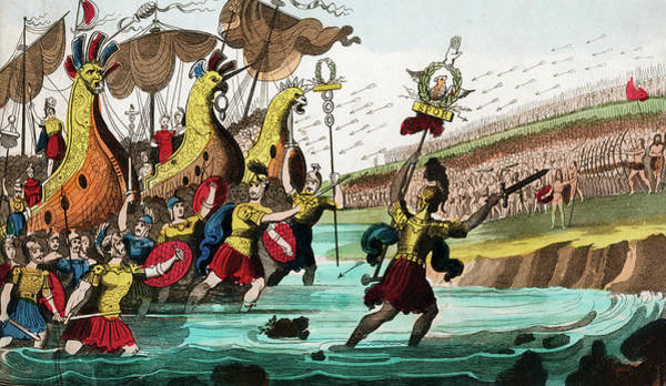 Briton Wall Art - Painting - Julius Caesar And Roman Troop Ships by Vintage Images
