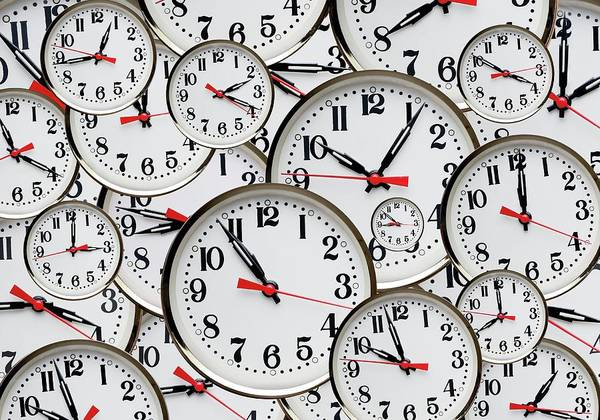 Hands Of Time Photograph - Jumbled Clock Times by Victor De Schwanberg