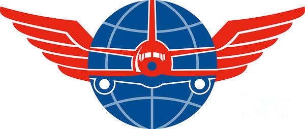 Wall Art - Digital Art - Jumbo Jet Plane Front Wings Globe by Aloysius Patrimonio