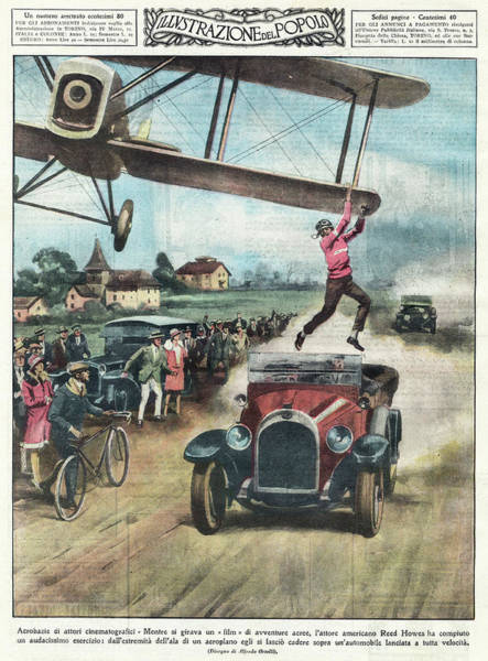 American Car Drawing - Jumping From A Plane American Film by Mary Evans Picture Library