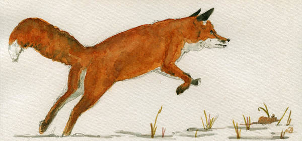 Jumping Wall Art - Painting - Jumping Red Fox by Juan  Bosco