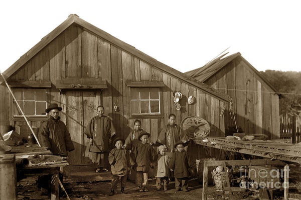 Photograph - Jung San Choy And Chinese Family Pescadero Village Pebble Beach California Circa 1895 by California Views Archives Mr Pat Hathaway Archives