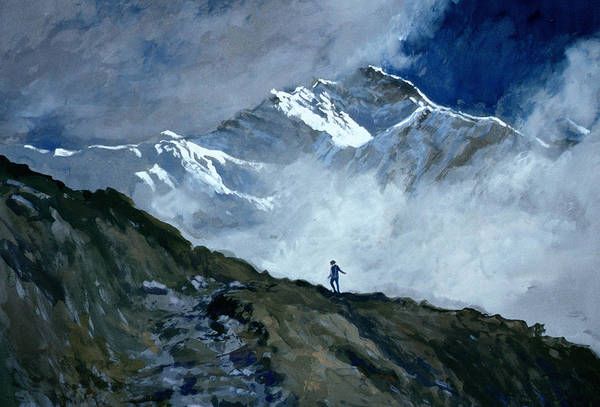 Grey Skies Wall Art - Painting - Jungfrau by John Cooke