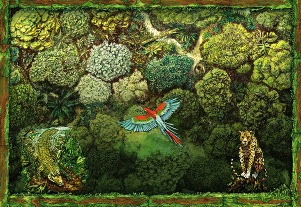 Mixed Media - Jungle Animals Framed by Odysseas Stamoglou