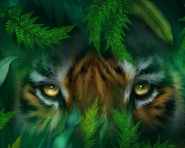 Mixed Media - Jungle Eyes - Tiger by Carol Cavalaris