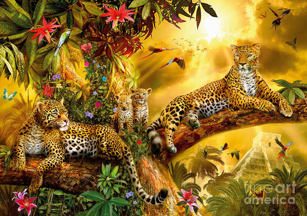 Big Cat Digital Art - Jungle Jaguars by MGL Meiklejohn Graphics Licensing