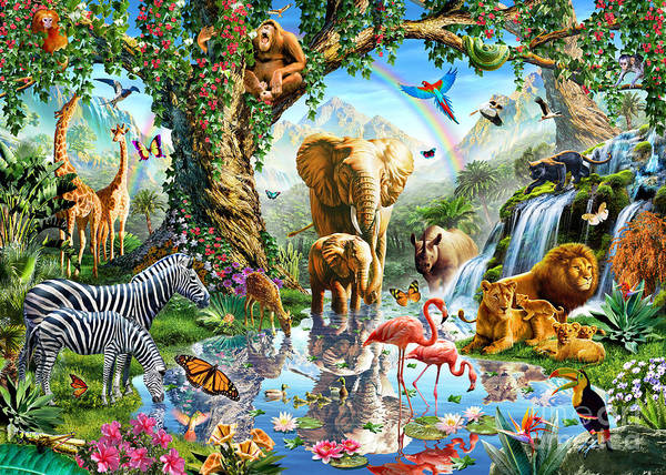 Big Cat Wall Art - Digital Art - Jungle Lake by MGL Meiklejohn Graphics Licensing