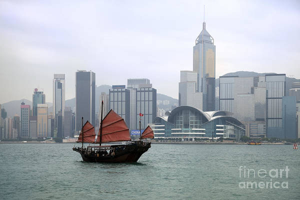 King Harbor Photograph - Junkboat In Hong Kong Harbour by King Wu
