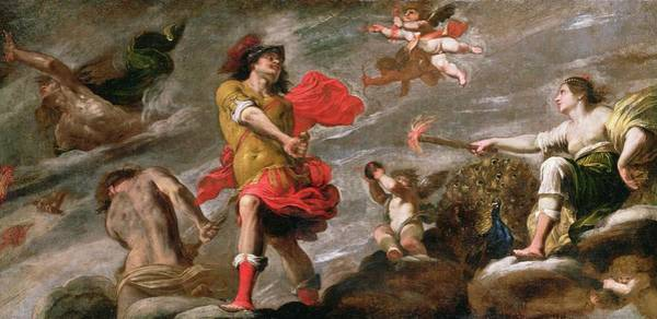God Of War Wall Art - Painting - Juno And Mars, C.1650 by Giovanni Battista Carlone