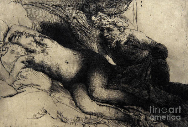 Man And Woman Drawing - Jupiter And Antiope by Rembrandt