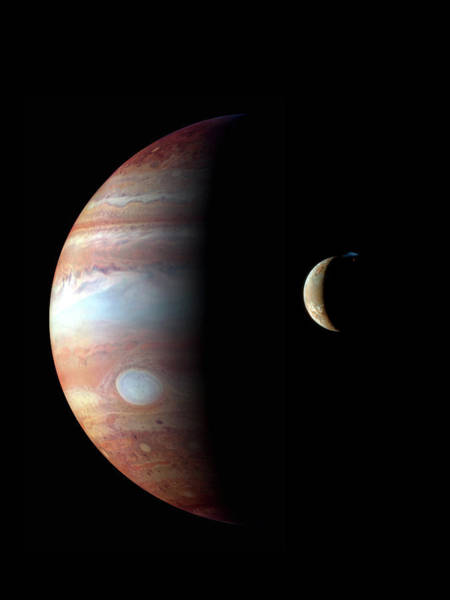 Ir Photograph - Jupiter And Io by Nasa/jhu/apl/science Photo Library