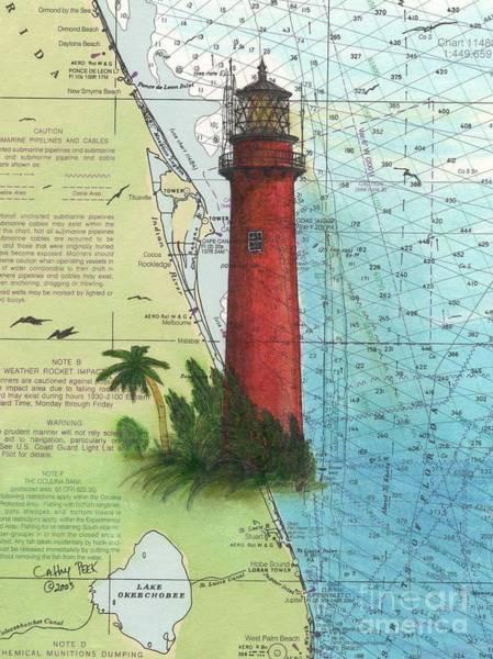 Cathy Painting - Jupiter Inlet Lighthouse Fl Nautical Chart Map Art Cathy Peek by Cathy Peek
