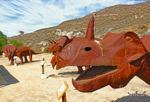 Painting - Jurupa Dinosaurs - Triceratops Group by Gregory Dyer